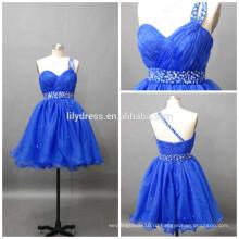 Последние дизайн одно плечо Раффлед бисером на заказ мини коктейль партии CD070 Коктейльные платья короткие королевский синий