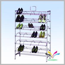 Hot sale stylish free standing retail shop fashion metal shoe rack