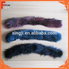 Teñido de diferentes colores recorte de piel de mapache