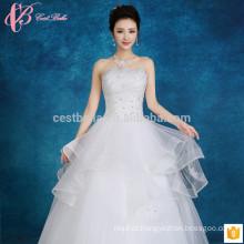 Slim fit off-shoulder slim fit vestido de bola inchado apliques de renda multicamada mais barato vestido de casamento tamanho