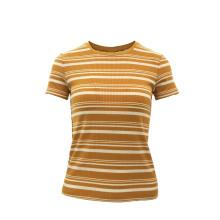 Hot Sale Custom Colorful Sweet Stand Short Sleeve Slim Ladies Stripe T-Shirt