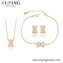 64996 xuping mode synthétique CZ 18k plaqué or coréen femmes ensemble de bijoux