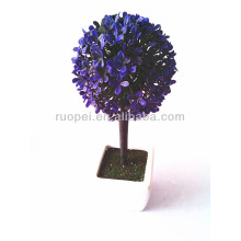 Beautiful vivid mini artificial purple grass ball bonsai with ceremaic pot