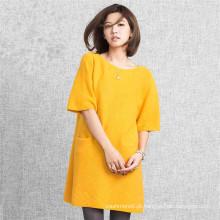 Novo tecido de confecção de design, malhas de lã de cashmere mulheres