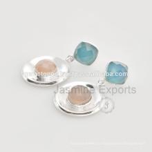 Синий и розовый халцедон Мульти драгоценных камней стерлингового серебра Рождественские украшения