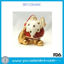 Santa Navidad Candelero de cerámica