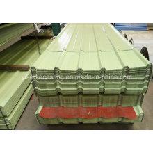 Folha de telhado de aço ondulado revestida de cor PPGI