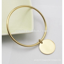 Round plating 18k gold bangle bracelets with charms charm bangles