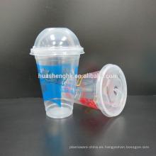 Venta caliente de alta calidad de 12oz / 16oz con tapa de cúpula impresa taza de plástico desechable