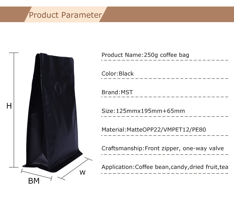 Flat Bottom Coffee Bags With Valve