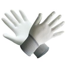Gants en polyester / nylon avec PU blanc revêtu de ce