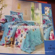 75gsm 100% polyester simple flower printed style adult big size microfiber bedsheet sets