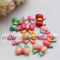 Colorful Acrylic Solid Bowtie Resin Beads for Hair Decoration for Girls