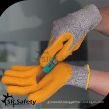SRSAFETY yellow latex coated cut level 5 rubber glass handling gloves