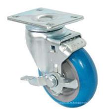Roulette pivotante PU avec frein latéral (bleu)