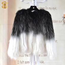 European Style Mixed Farbe Gestrickte Frauen Winter Genuine Waschbär Pelz Mantel