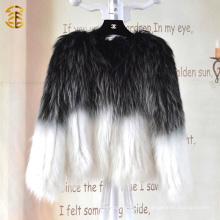 Estilo europeo mixto de color de punto de las mujeres de invierno abrigo de piel de mapache auténtico