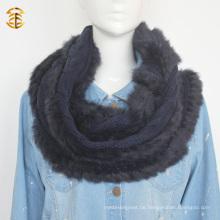 Erwachsene Art Wolle gestrickte echte Fox Pelz Schalldämpfer Schal mit Fox Pelz Trimmen