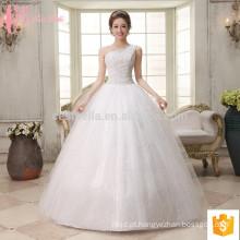 Venda por atacado de um ombro vestido de baile vestido de noiva barato mais tamanho beading casamento vestido
