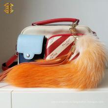 Би-цвета Real Fox Fur Tail KeyChain Сумка Charm Fur Keyring