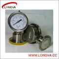 Medidor de presión con abrazadera de acero inoxidable sanitario