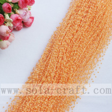 Orange Pink Artificial Imitation Plastic Pearl Trimming Beaded Strands