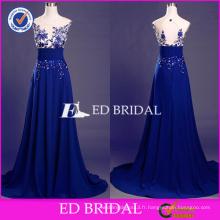 ED Bridal Elegant Blue Lace Appliques Sans manches Key Hole Retour A-line Long Prom Dress 2017