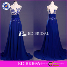 ED Bridal Elegant Blue Lace Appliques Sleeveless Key Hole Back A-line Long Prom Dress 2017
