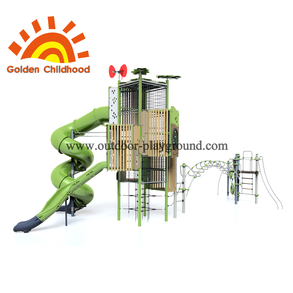 Single Turbo Tube Tower Outdoor Playground Equipment For Children