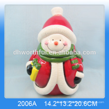Lovely ceramic snowman cookie jar in large size