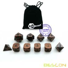 Bescon 10pcs Set Antique Copper Solid Metal Polyhedral D&D Dice Set, Old Copper Metal RPG Role Playing Game Dice 7+3 Extra D6s'