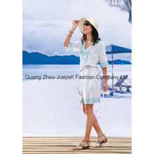Belted Embroidered Women Fashion Dress