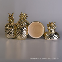 Decorative Gold Pineapple Ceramic Candle Jars with Lids