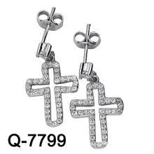 Boucle d'oreille en croix en argent sterling 925 (Q-7799)