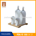 Cozinha cerâmica Spice Jar e Pepper Shakers com base de bambu