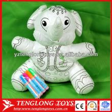 Educational toy stuffed elephant washable coloring toy