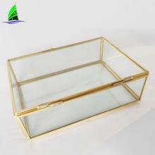 O vidro do OEM crafts o terrarium de vidro geométrico do ouro do retângulo