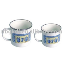 porcelain mug with handle,SS rim and PP lid