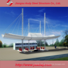 Design Large-Span Galvanized Light Steel Space Frame Gas Station
