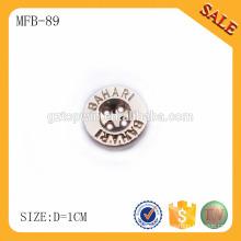 MFB89 Logotipo da marca personalizada deboss metal 4 furos de costura botão para vestuário