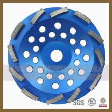 Roda de copo de moedura dupla de diamante de 180 mm