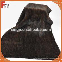 Manta de piel de visón de color marrón natural de calidad superior