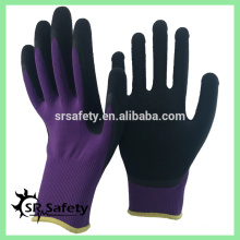 SRSAFETY 13 калибра в трикотажном фиолетовом полиэфирном покрытии из черного пенополиэтилена на ладони для защитных рабочих перчаток