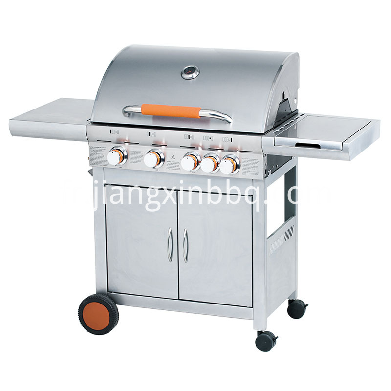 4 1 Stainless Steel Double Layer Hood Gas Grill Orange