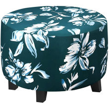 Round Floral Printed Sofa Cover Spandex Ottoman Covers Slipcover