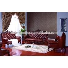 Sofá clássico de sala de estar em couro A683
