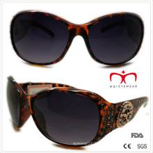 Gafas de sol de plástico para damas con diamantes de imitación y decoración de metal (wsp508368)