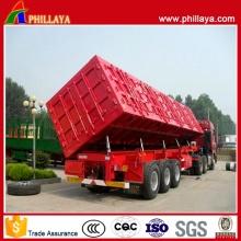 3 eixos lado hidráulico elevação recipiente tipo Dump reboque de carga