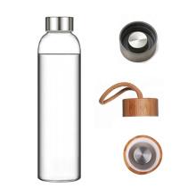 Custom LOGO single wall borosilicate glass water bottle with neoprene sleeve water bottles glass drinking detox