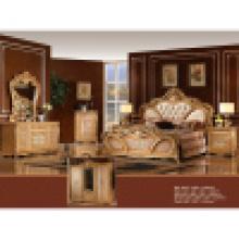 Ensemble de meubles de chambre à coucher antique avec lit classique et armoire (W808)